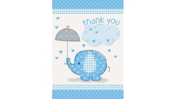Blue Elephant Baby Shower Thank You Cards, 8 Ct.