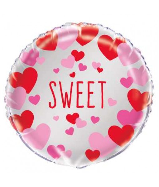 Sweet Pink & Red Hearts Foil Balloon 18""