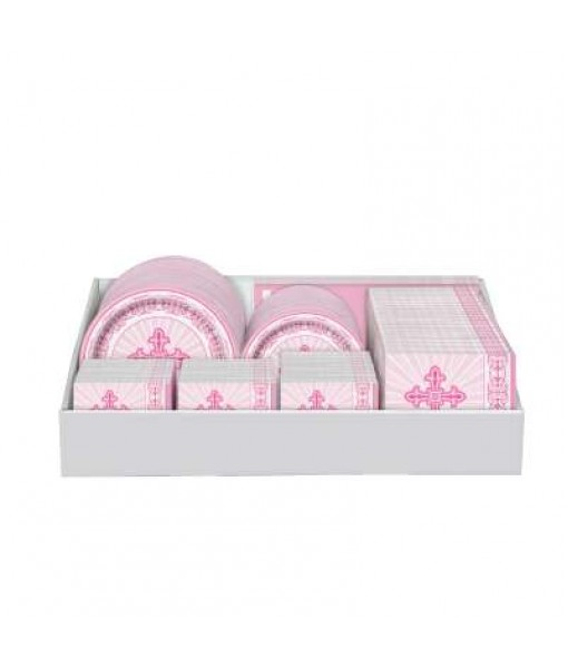 Bulk Pink Radiant Cross Party Tableware Counter Display, 92 Ct.