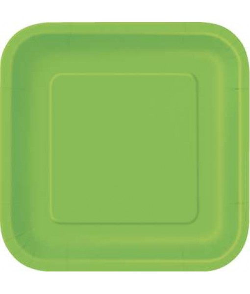 "Lime Green Square Paper Cake Plates 7"", 12 Ct."