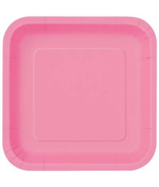 """Baby Pink Square Paper Plates- 18 pcs. - 9"""""""