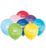 Assorted Color 16th Birthday Latex Balloons, ...