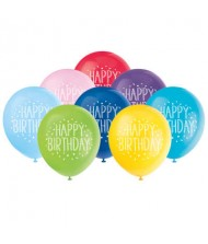 Assorted Color Happy Birthday Latex Balloons, ...