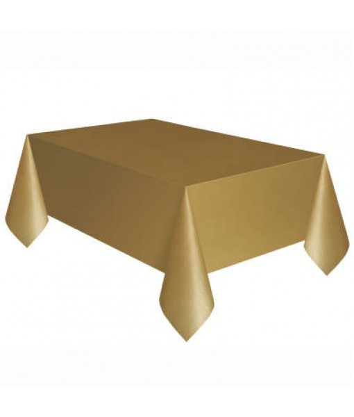 Gold Rectangle Plastic Table Cover, 54' ...