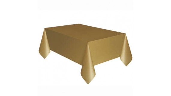 Gold Rectangle Plastic Table Cover, 54' x 108'
