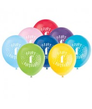 Assorted Color 1st Birthday Latex Balloons, ...