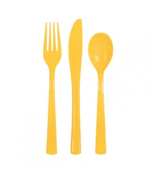Sunflower Yellow Solid Assorted Plastic Cutlery Box, 18 Ct.