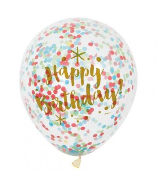 Clear Gold Birthday Latex Balloons with Bright Confetti - 6 Pcs