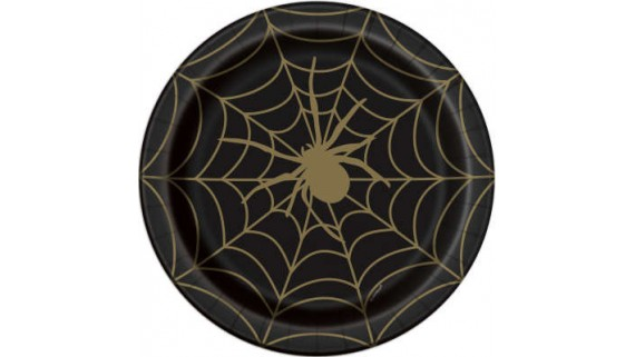 Black and Gold Spider Web Round Dinner Plates, 8 Ct.
