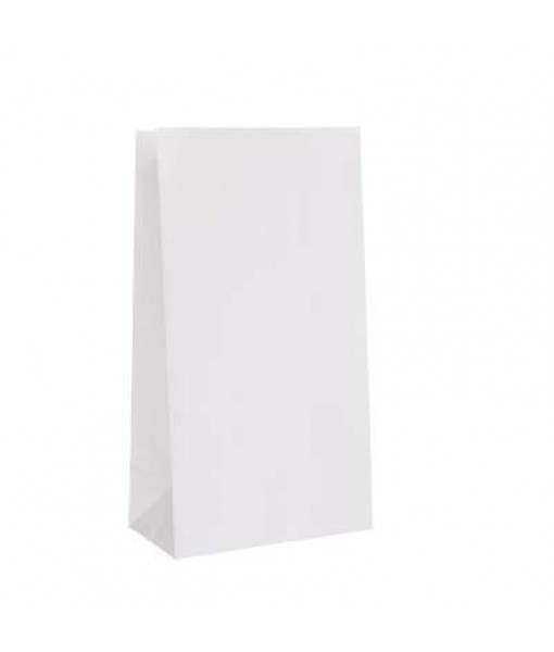 "White Paper Favor Bags 10""x 5"", 12 Ct."