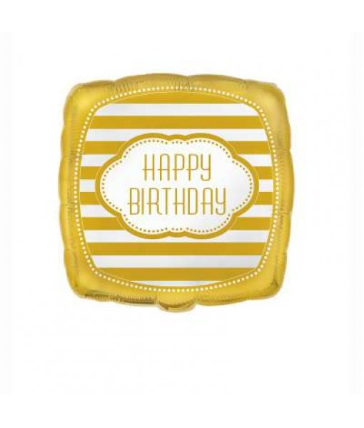 "Gold Square Birthday Foil Balloon 18"", 1 Ct."