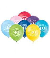 Assorted Color 40th Birthday Latex Balloons, ...