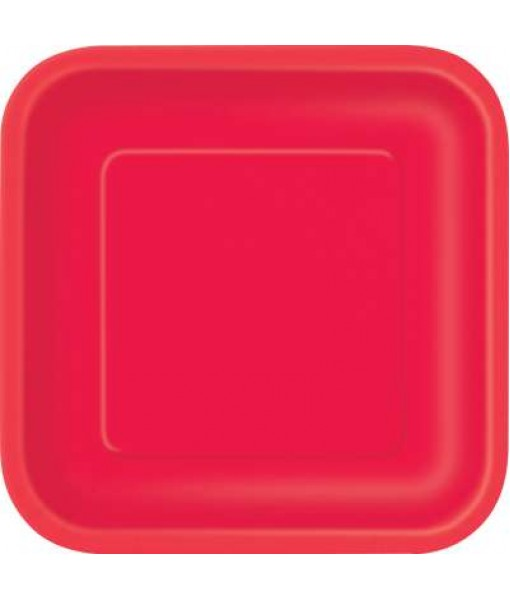 "Ruby Red Square Dessert Plates 7"",12 Ct."