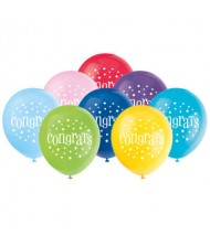"Assorted Color ""Congrats"" Latex Balloons, 8 ..."