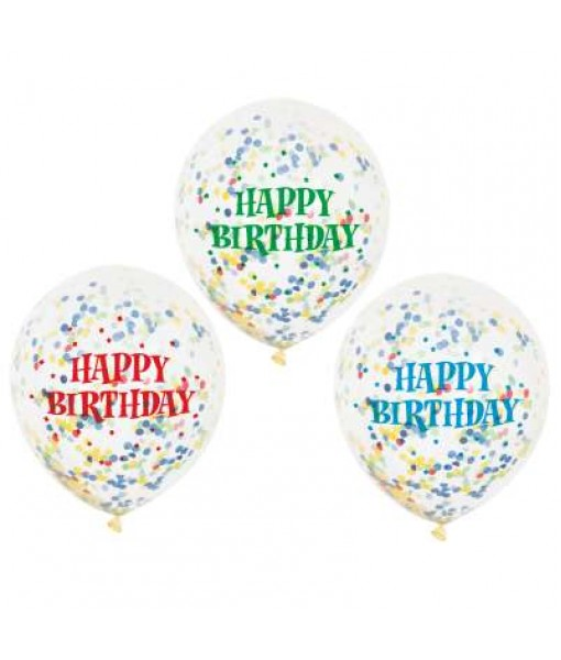 Clear Birthday Latex Balloons with Bright Confetti - 6 Pcs