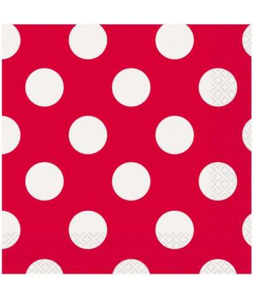 "Ruby Red Polka Dot Party Napkins 6.5"", 16 Ct."