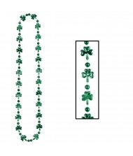 Green Shamrock Leaves Beaded Necklace - ...