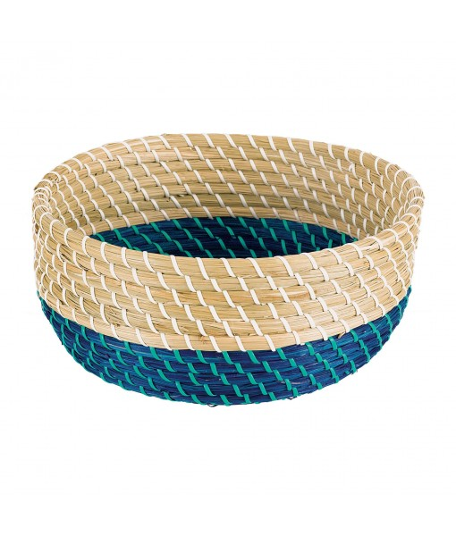 Blue Bottom Rattan Wicker Bowl - 1pc