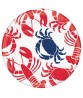 Crab and Lobster Pattern Plastic Platter - 1pc / 14""