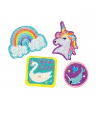 Assorted Magical Rainbow Iron-On Fabric Patches- ...