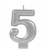 #5 Silver Numeral Birthday Candle - ...