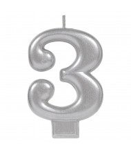 #3 Silver Numeral Birthday Candle - ...