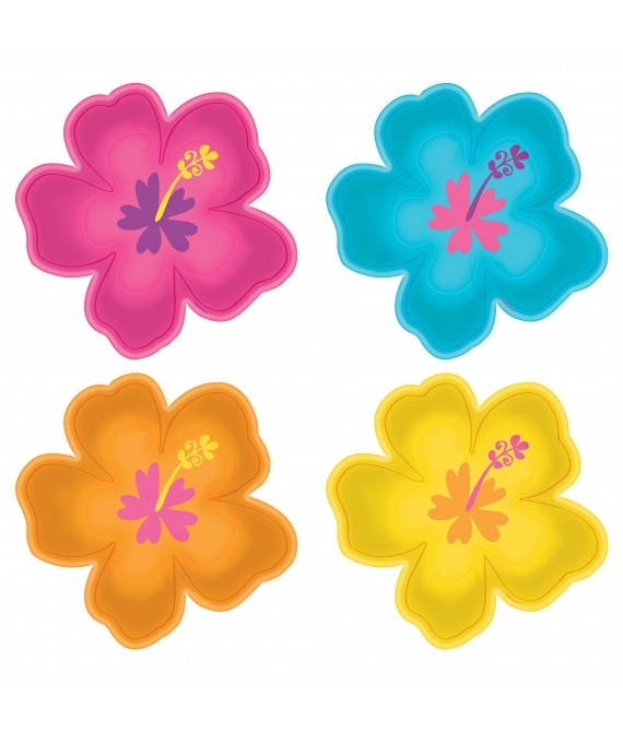 Multicolor Hibiscus Shaped Paper Plates - 8pc / 10""