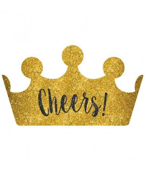 """Cheers!"" New Year's Crown Black, Silver, Gold, 4.3"" x 9.3"""