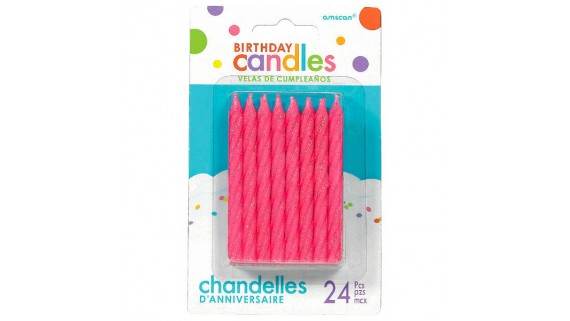 Large Glitter Spiral Candles|Pack of 24|Party Supply