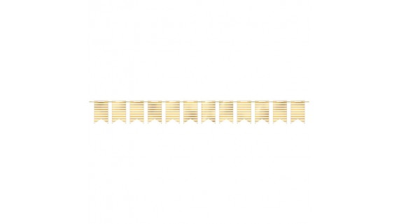 """Hot Stamp Stripe Design Pennant Party Banner 7"""" x 4 1/4"""" - White with Gold"""