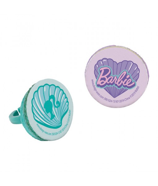 """Barbie Mermaid"" Lavender and Green Party Favor Plastic Rings, 8 Ct."