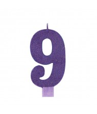 #9 Large Glitter Candle|Purple|Party Supply