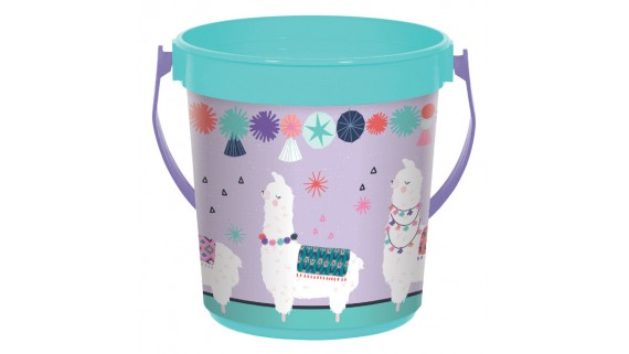 """""""Llama Fun"""" Teal and Purple Party Favor Container, 4 7/8"""" H x 4 3/8 D"""