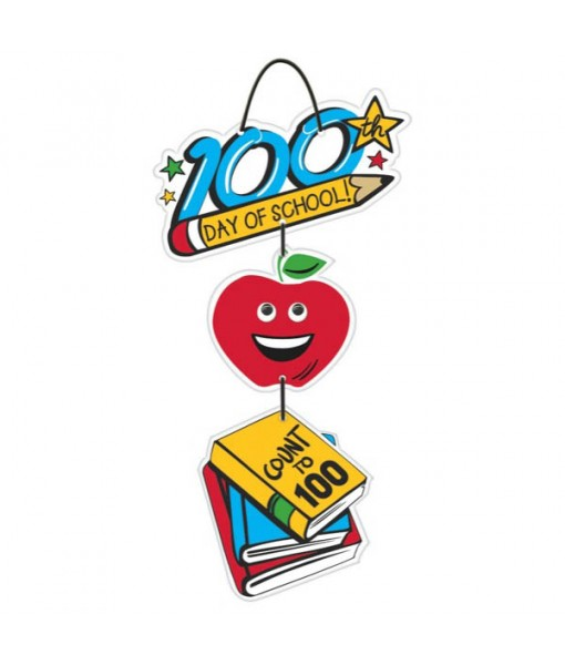 """""""100th Day Of School"""" Hanging Party Sign, 19"""" x 9"""""""