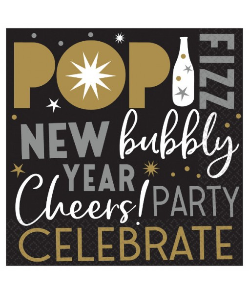 """Celebrate The New Year Luncheon Napkins, 6.5"""" x 6.5"""", 125 Ct."""