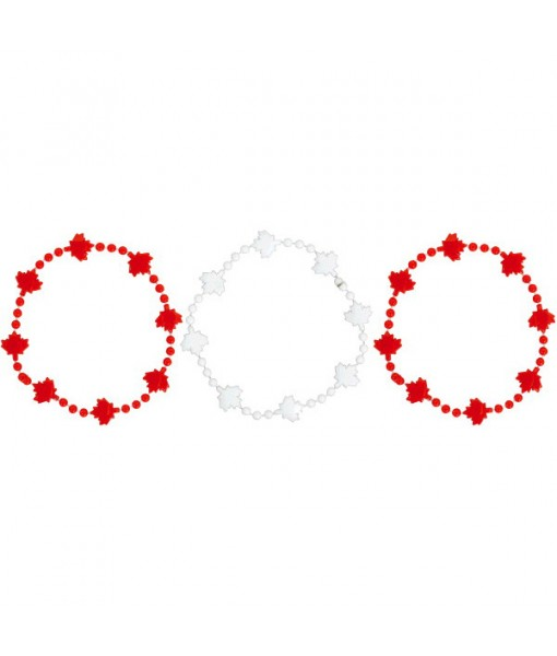 """""""Canada Day"""" Party Beaded Bracelets, 4"""", 3 Ct."""