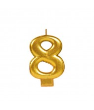 #8 Metallic Candle|Gold|Party Supply