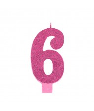 #6 Large Glitter Candle|Pink|Party Supply