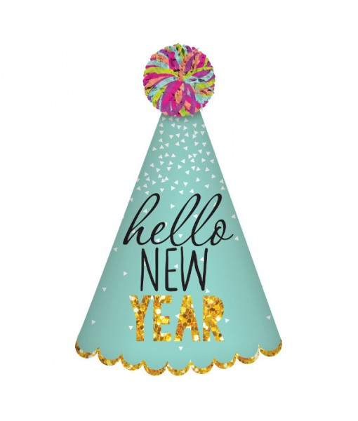 """""""Hello New Year"""" Cone Hat, 9"""""""