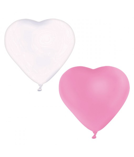 """Heart Shape Latex Party Balloon 12"""" - Pink/White"""