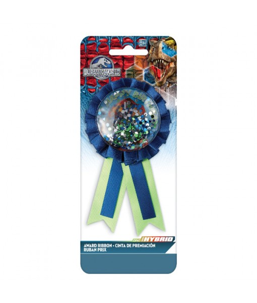 """Jurassic World"" Blue and Green Confetti Pouch Party Award Ribbon"