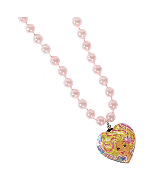 """Barbie Mermaid"" Light Pink Bead Necklace, Party Favor, 8.5"""