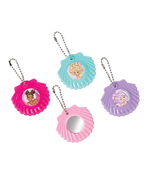 """""""Barbie Mermaid"""" Assorted Color Shell Mirror Party Favor Keychains, 8 Ct."""