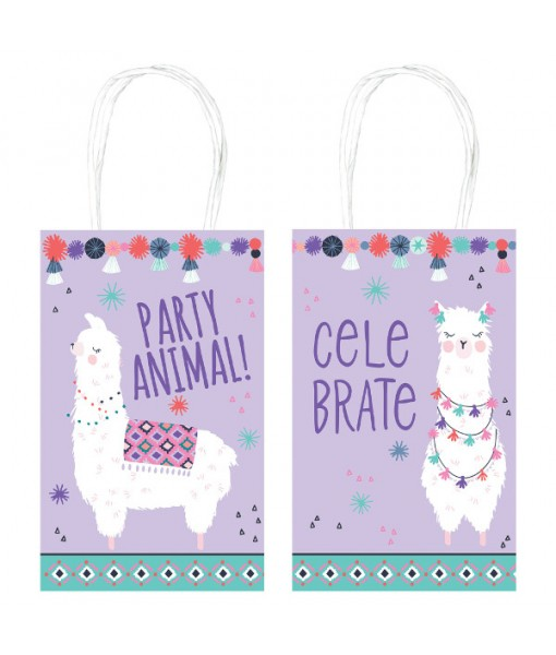 """Llama Fun"" Purple Printed Paper kraft Party Bags, 8.25"" H x 5"" W, 8 Ct."