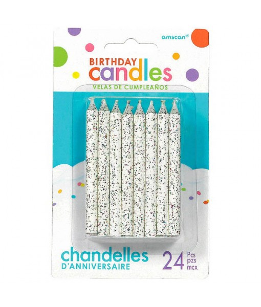 Large Glitter Candles|Pack of 24|Party Supply