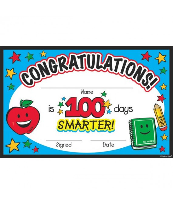 """""""100th Day Of School"""" Party Certificate, 8.5"""" x 5.5"""", 36 Ct."""