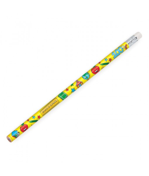 """""""100th Day Of School"""" Party Pencils, 7 3/8"""", 12 Ct."""