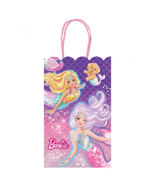 """Barbie Mermaid"" Purple and Pink Party Paper Kraft Bags, 8 Ct."