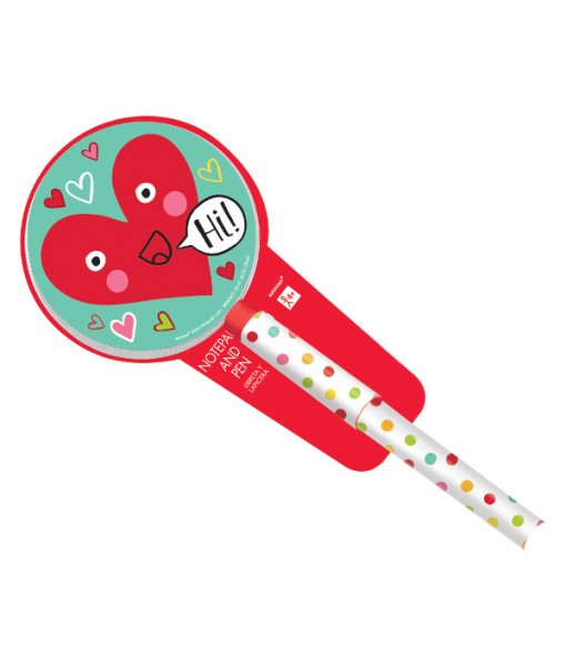 Valentine Heart Face Pad and Pen Favors, 2 Pc.