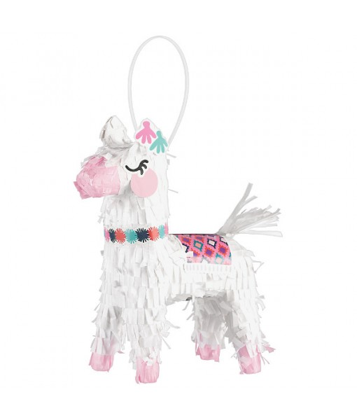 """Llama Fun"" White Mini Pinata Decoration, 5.75"" x 7.5"""